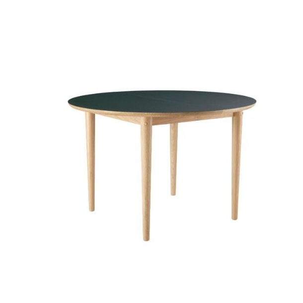 C62E Bjørk - spisebord med udtræk (eg/mørkegrøn)