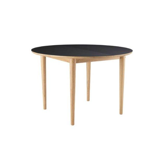 C62E Bjørk - spisebord med udtræk (eg/sort)