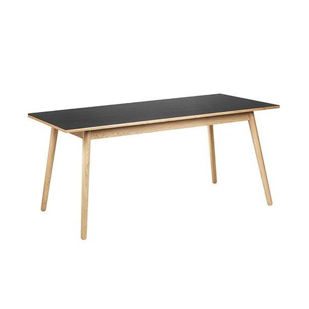 C35C spisebord til 8-12 pers <br> (Eg/sort linoleum)