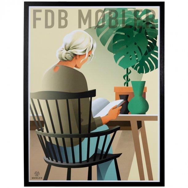 FDB Møbler plakat - J52B - indrammet